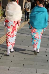 Blue green Kimono and wrap kyoto