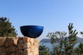 Blue artwork against sky naoshima